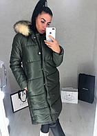Женская тёплая куртка по колено с капюшоном большие размеры
