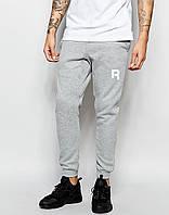 Мужские спортивные штаны в стиле REEBOK | РИБОК серые ( Белый принт )