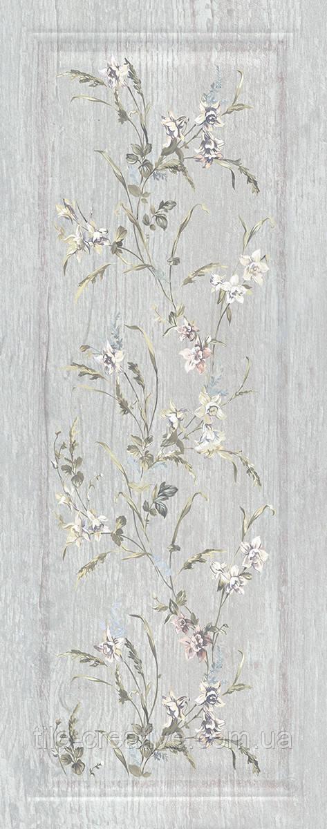 Керамическая плитка Кантри Шик серый панель декорированный 20х50х8 7189
