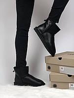 Мужские UGG Classic Short Black кожа. Размеры (36,37,38,39,40,41,42,43,44)
