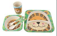 Маленький эко набор детской посуды 5 шт, Бамбуковая посуда, Посуда Лев