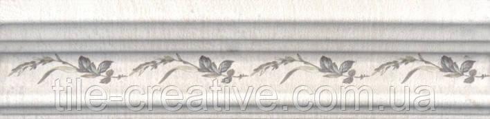 Керамическая плитка Бордюр Багет Кантри Шик белый декорированный20х5х19 BLB028