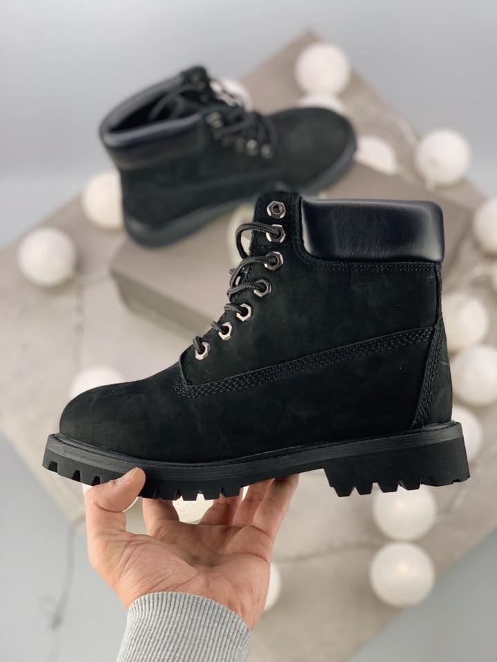 Женские ботинки Timberland 6 Inch Premium black (на меху) зима, чёрные. Размеры (37,40,43,45)