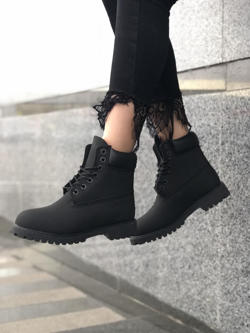 Женские ботинки Timberland Premium full black (термо) осень/зима, чёрные. Размеры (36,37,38,39,40,41,42,43,44)