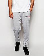 Мужские спортивные штаны в стиле REEBOK | Рибок серые значёк+имя