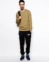 Мужские спортивные штаны в стиле REEBOK | Рибок чёрные белый лого