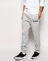 Мужские спортивные штаны в стиле REEBOK | Рибок Классик серые чёрный лого