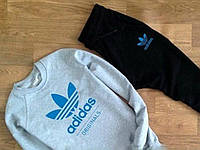 Мужской серый спортивный костюм в стиле Adidas Blue logo
