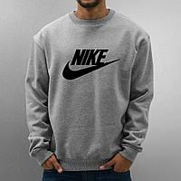 Свитшот серый в стиле Nike ( Найк ) ( галочка+имя )
