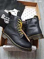 Мужские зимние ботинки на меху Dr. Martens, натуральная кожа, полиуретан, прошитые, черные.***