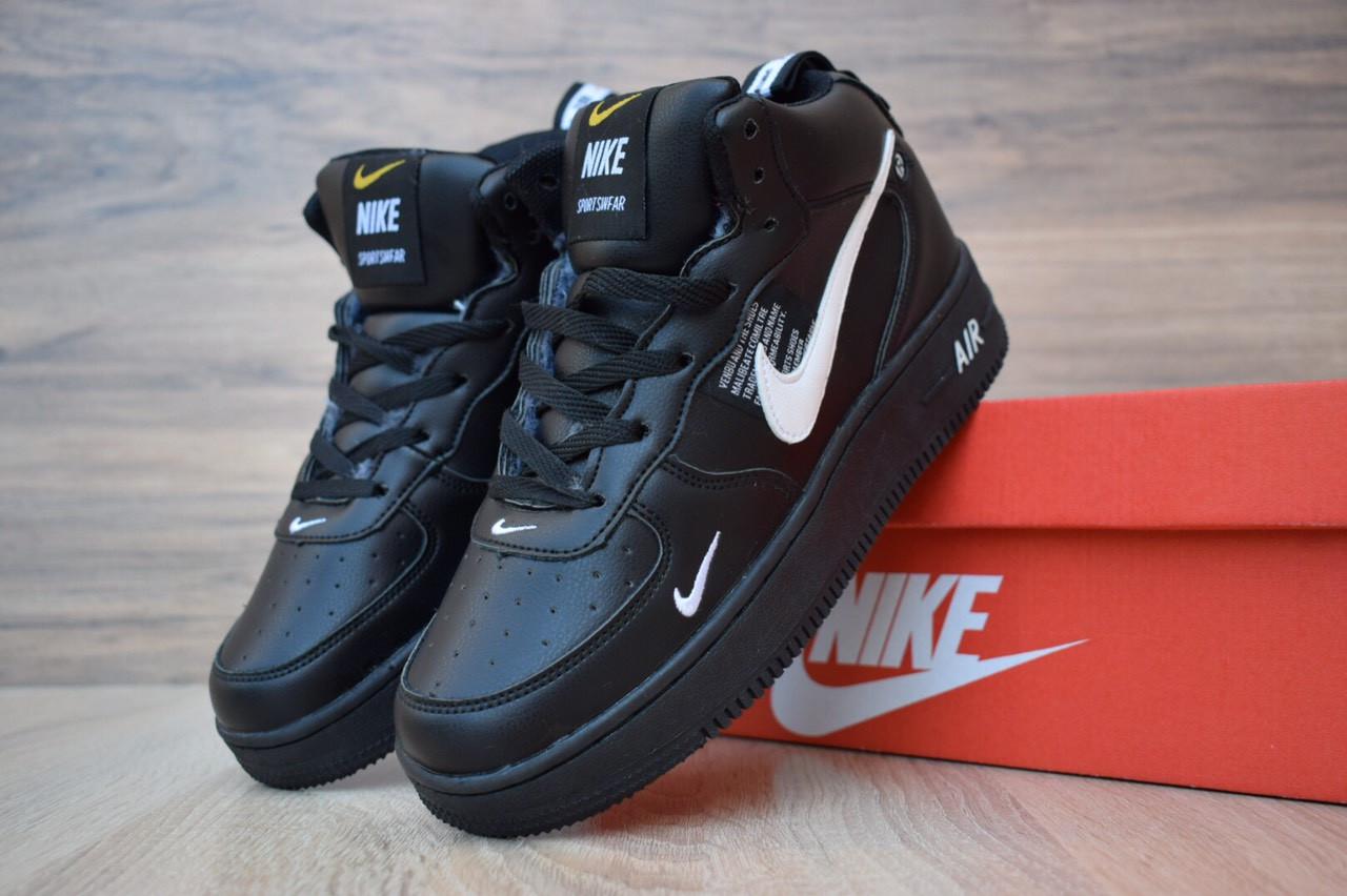 Женские кроссовки Nike Air Force 1 Mid LV8 (на меху) зима, чёрные. Размеры (37,38,39)