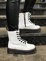 Женские ботинки Dr Martens Jadon 2 White Winter (на меху) зима, белые. Размеры (36,37,38,39,40)