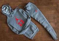 Серый спортивный костюм в стиле Jordan 23 с капюшоном (красное лого)