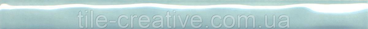 Керамическая плитка Бордюр Фоскари бирюзовый волна 25х2х12 PWB002