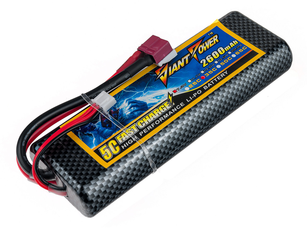Аккумулятор Giant Power (Dinogy) Li-Pol 2600mAh 7.4V 2S 35C Hardcase 25x46x138мм T-Plug