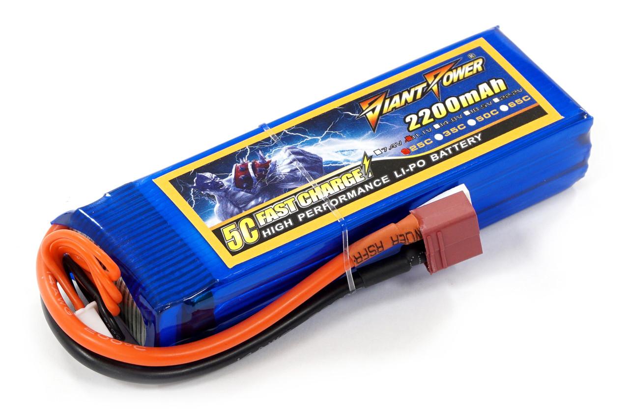 Аккумулятор для страйкбола Giant Power (Dinogy) Li-Pol 11.1V 3S 2200mAh 25C 24х34х102мм T-Plug