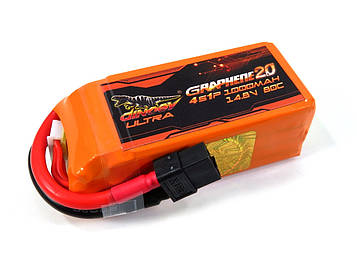 Акумулятор для квадрокоптера Dinogy ULTRA G2.0 Li-Pol 1000 мАг 14.8 В 76x27x34 мм XT60 80C