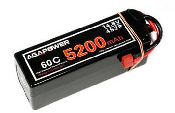 Акумулятор AGA POWER Li-Pol 5200mAh 14.8 V 4S1P 60C Hardcase 48х47х138мм T-Plug (SV)