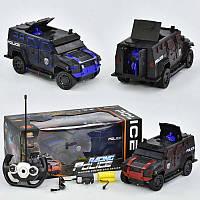 Джип полицейский на р/у 666-710 А (24) подсветка, аккум. 4.8V, люк и дверь открываются с пульта, 2 цвета