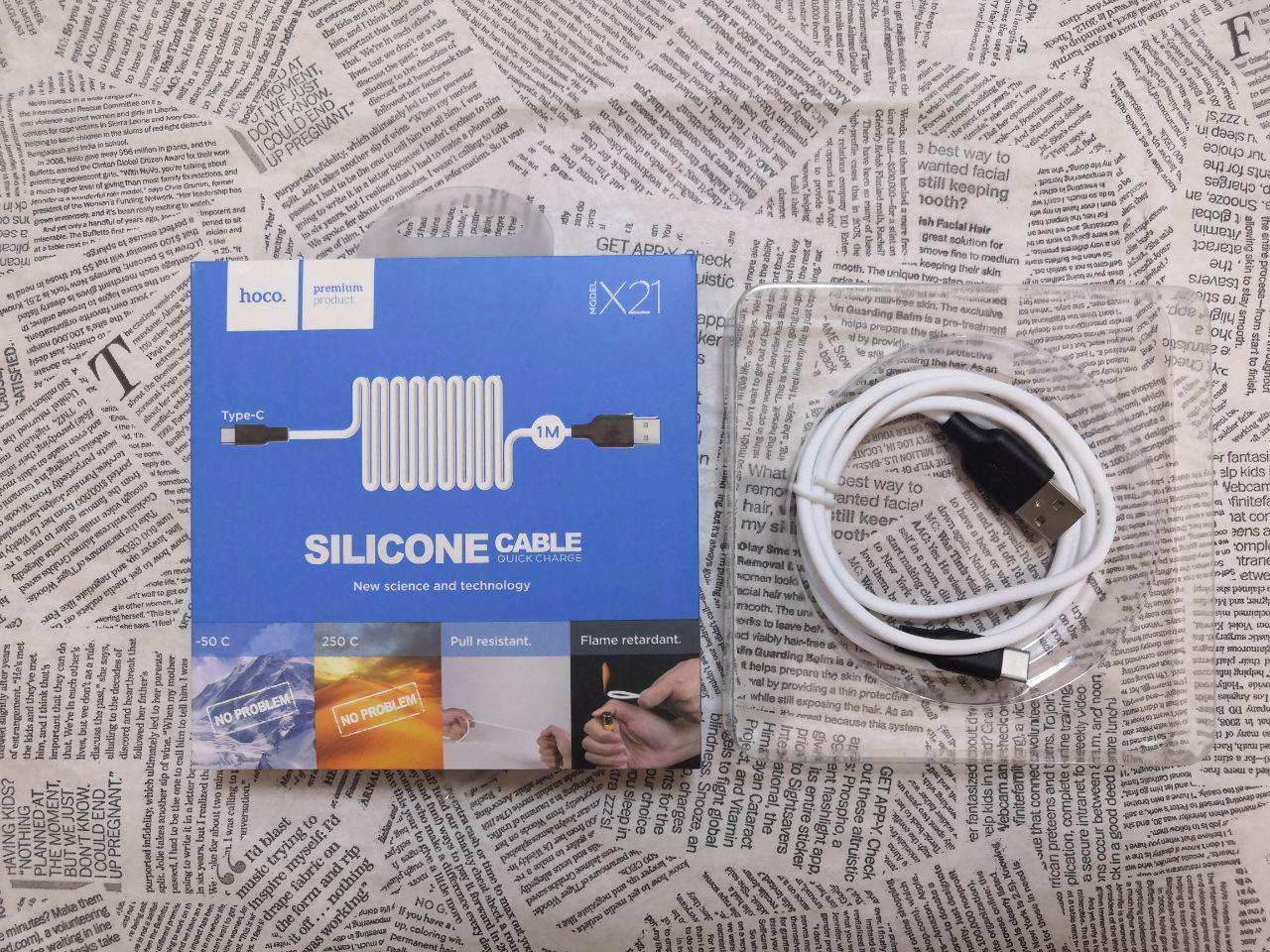USB кабель Hoco X21 Silicone Type-C White (белый)