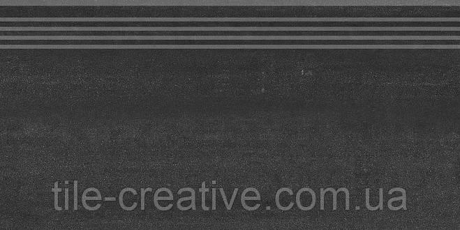 Керамический гранит Ступень Про Дабл черный обрезной 30х60х11 DD200800R\GR