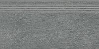 Керамический гранит Ступень Ньюкасл серый темный обрезной 30х60х9 SG212500R\GR
