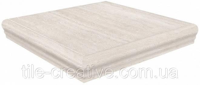 Керамический гранит Ступень Пантеон беж светлый правая угловая 34х34х8 SG157100R\GR\AND