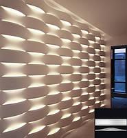 """Гипсовая 3d панель для стен """"LED WAVE"""" (декоративная стеновая 3д панель)"""