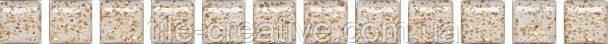 Керамическая плитка Карандаш Бисер белый золото 20х1,4х12 POF002