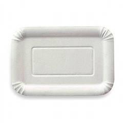 Тарілка паперова прямокутна 14х20см біла ламінована 100шт. 1/18