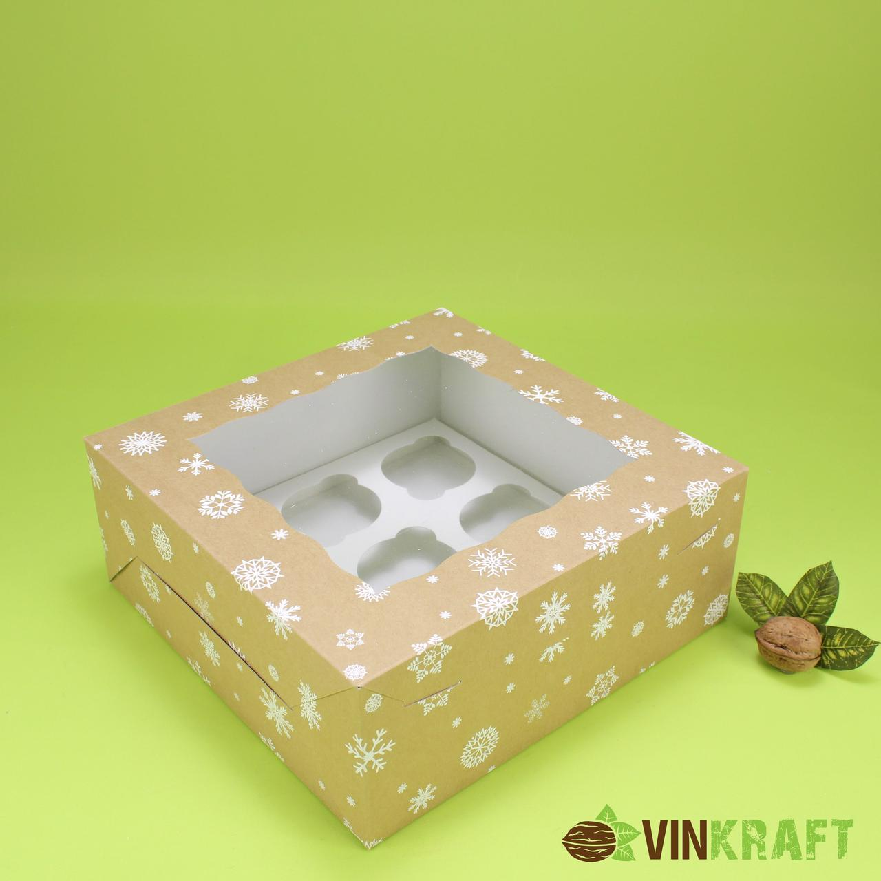 """Коробка 250*250*100 для капкейків (9 шт) з вікном, крафт """"Сніжинка"""""""