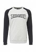 Свитшот с чёрным принтом в стиле Thrasher | Кофта Трешер