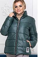 Куртка женская зима синтепон 200 зеленая батал