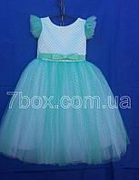Детское платье бальное Горошки Возраст 5-6 лет. Мятное Опт и Розница