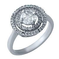 Восхитительное серебряное женское кольцо с фианитами Италия 17.5 размер
