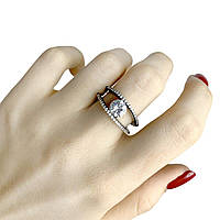 Серебряное женское кольцо покрыто черным родием с фианитами 17 размер Италия