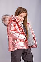 Р-р 92, 98, 104. Курточка для девочки  куртка детская зимняя на флисе (розовая)