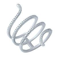Серебряное женское кольцо с фианитами 18 размер
