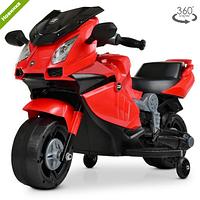 Детский электромотоцикл 4082-3 красного цвета.