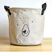 Тканевая корзина для хранения вещей и игрушек с ручками Мишка Berni 20 х 18.5 см Серая (43438)