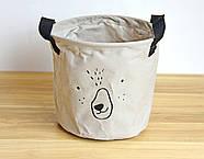 Тканевая корзина для хранения вещей и игрушек с ручками Мишка Berni 20 х 18.5 см Серая (43438), фото 3
