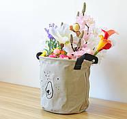 Тканевая корзина для хранения вещей и игрушек с ручками Мишка Berni 20 х 18.5 см Серая (43438), фото 4