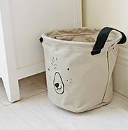 Тканевая корзина для хранения вещей и игрушек с ручками Мишка Berni 20 х 18.5 см Серая (43438), фото 6