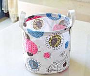 Круглая корзина с ручками для игрушек, белья, хранения Птица в клетке Berni 20 х 18.5 см (45708), фото 2