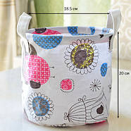 Круглая корзина с ручками для игрушек, белья, хранения Птица в клетке Berni 20 х 18.5 см (45708), фото 3