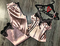 Пижама с штанами, шелковый комплект майка+ штаны цвет пудра