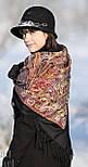 Жасмин 1176-18, павлопосадский платок (шаль, крепдешин) шелковый с шелковой бахромой, фото 3