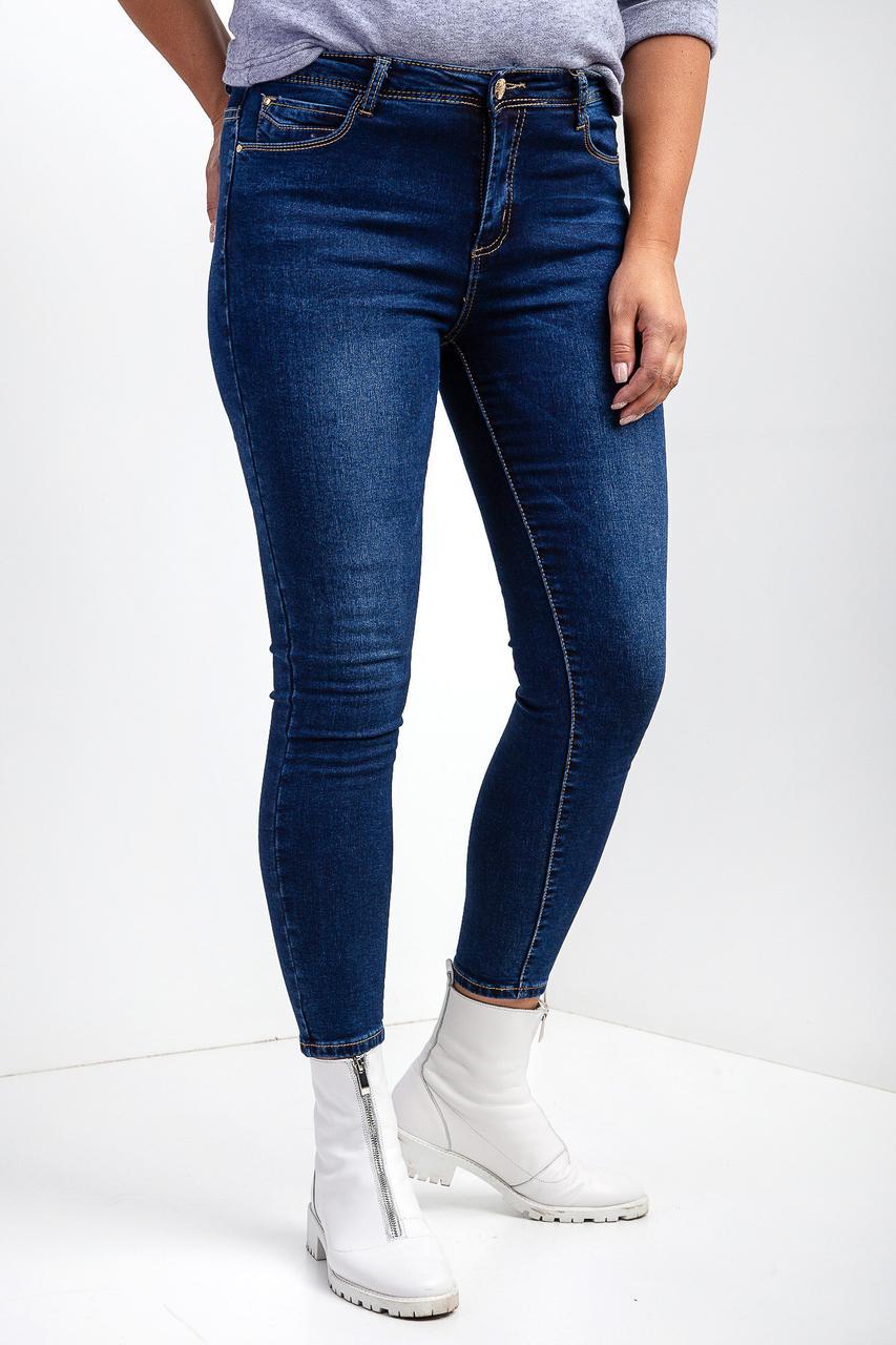 Зимние утепленные джинсы-американка батальные на байке стрейчевые