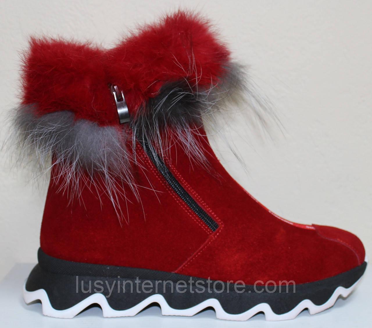 Ботинки женские замшевые зимние с натуральным мехом на толстой подошве от производителя модель УН518