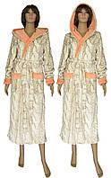 NEW! Длинные женские махровые халаты с двойным капюшоном - Тиффани Жаккард ТМ УКРТРИКОТАЖ!